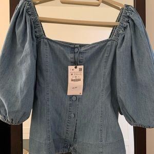 NWT Zara Denim Puff Sleeve Blouse